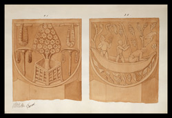 Two drawings of sculpture on the stupa rail at Bodhgaya (Bihar), made by Kittoe during his investigation of the site. January 1847. 16
